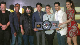 MUMBAI, DEC 15 -- Bollywood actors Shahrukh Khan, Kajol, Kriti Sanon,Varun Dhawan, Varun Sharma, Music Director Pritam and Director Rohit Shetty during music launch of  film Dilwale in Mumbai on Tuesday -- Photo byb Sumant Gajinkar (GNI)