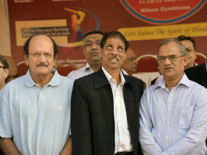 MUMBAI, (GNI): Kotak Mahindra Bank supports cricket for the visually challenged. (R-L) Dipak Gupta, Jt. MD, Kotak Mahindra Bank, Arun Bharaskar, President, Blind Welfare Organisation and Ajit Wadekar, former captain of Indian cricket team at the inauguration of National Blind Cricket Tournamen, in Mumbai