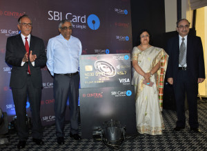 MUMBAI, (GNI): From L to R: Vijay Jasuja, CEO, SBI Card, Kishore Biyani, Chairman, Future Group, Mrs. Arundhati Bhattarcharya, Chairman, State Bank of India (SBI), Dinesh Kumar at Future Group and SBI Card, a top credit card issuer today announced the launch of a unique co-branded credit card designed for the aspirational urban shopper Khara, MD, SBI at Central SBI SELECT Cards Launch at Hotel Trident in Mumbai - Photo by GNI