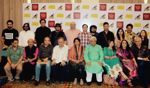 MUMBAI, (GNI): From L to R – Ayushan Khurana, Roop Kumar Rathod, Talat Aziz , Louiz Banks , Raju Singh, Lalit Pandit, Pritam , Sadhna Sargam , Udit Narayan, Sapna Mukherjee, Sitting L to R – Sameer Anjaan , Suresh Wadkar, Shailendra Singh,Kavita Krishnamurthy, Javed Akhtar, Alka Yagnik, Ila Arun and Ramesh  Sippy in Mumbai - photo by GNI