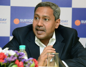 MUMBAI, (GNI):  R Baskar Babu, MD and CEO, Suryoday Small Finance Bank speaking at the event, in Mumbai today - photo by GNI
