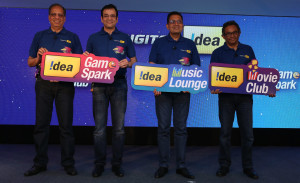 MUMBAI, (GNI): From L to R: Rajat Mukarji Chief Corporate Affairs Officer Sunil Tolani, National Head Digital, Himanshu Kapania, Managing Director, Sashi Shankar, Chief Marketing Officer, of Idea Cellular, today announced its arrival into the digital world with the launch of 3 new exciting Mobile Apps in Mumbai - Photo by GNI