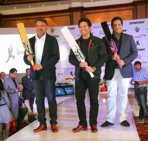 "MUMBAI, (GNI): Cricket Legend Sachin Tendulkar, Spartan Sports International Ravi Thakran (Left) and Managing Director Kunal Sharma (Right) at the Sachin by Spartan"" range of Sporting Equipment & Sportswear launch in Mumbai - PHOTO BY GNI"