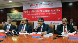 MUMBAI, (GNI): Arun Tiwari (2ND FROM L), Chairman and Managing Director, Union Bank Of India, flanked by V.K Kathuria, R.K.Verma & A.K.Goel Executive Directors, Union Bank Of India at the press conference held in Mumbai on the occasion of announcement of Financial Results for Q-3/Nine months ended December 31, 2016 in Mumbai - photo by Sumnt Gajinkar