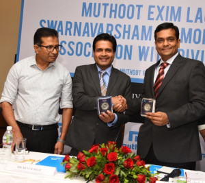 MUMBAI, (GNI): from left - Thomas Muthoot,Executive Director of Muthoot Pappachan Grup,Keyur Shah, CEO of Muthoot Precious Metals Division, during Muthoot Exim launch Swarnavarsham Diamond Jewellery in association with Divine Solitaires Pratham Diamonds in Mumbai - photo by Sumant Gajinkar