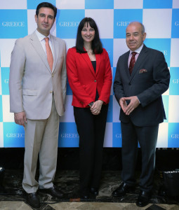 MUMBAI (GNI): L - R: Mr. Dimitrios Tryfonopoulos, Secretary General, GNTO. Ms. Elena Kountoura, Minister of Tourism Greece & Mr. Panos Kalogeropoulos Ambassador of Greece, during the announcement of The Greek National Tourism Organization (GNTO) forays into the Indian market starting 2017 to tap the increasing Indian outbound travel segment in Mumbai - photo by GNI
