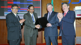 MUMBAI, (GNI); L to R - Ashishkumar Chauhan, MD & CEO, BSE, Ambarish Datta, MD & CEO, BSE Institute and Simon Williams, Director of Global Engagement, Development and Enterprise, Trinity College Dublin and John Halligan, Minister for Skills and Innovation, Ireland at the exchange of MoU between Trinity College Dublin and BSE Institute to offer collaborative programs in Financial Risk Management and Data Analytics at BSE in Mumbai - photo by GNI