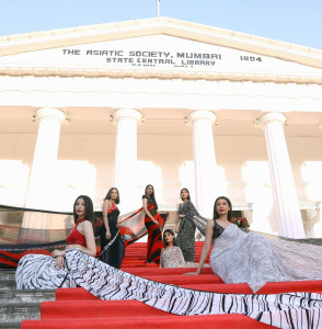 Models wearing Satya Paul at the iconic Asiatic Library, Mumbai