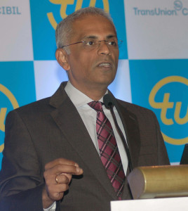 MUMBAI, (GNI): Satish Pillai, MD and CEO of TransUnion CIBIL during TransUnion CIBIL launch CIBIL Micro, Small and Medium Enterprises MSME Rank to help control Non performing assets NPAs and drive credit penetration to MSMEs in Mumbai on Tuesday - photo by Sumant Gajinkar