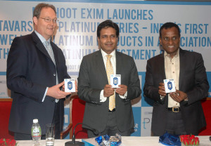 MUMBAI, (GNI): from left: Marcus Grubb, Director-Market Development of World Platinum Investment Council, Keyur Shah,CEO of Muthoot Precious Metals Division and K Sreenivasan,CMD of Emerald Jewel Industry Indis Ltd during the Muthoot Exim to launch India's First Platinum Non-Jewellery Products - Ananta Varsham, in Mumbai on Thursday - photo by Sumant Gajinkar