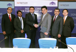 L-R: Pranay Jhaveri, Director and Chief Business Officer Euronet Services India; Pankaj Patole, Director of Technology Project Delivery Euronet Services India; Himanshu Pujara, Managing Director of Euronet Services India; Ho Ching Wee, Chief Executive Officer of Infinitium Holdings; Sam Oon, General Manager of Infinitium Solutions; Stephen Yeung, Director of Infinitium Holdings.