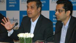 MUMBAI, (GNI): Sukumar Srinivas, MD of Shankara Building Product Ltd with Siddharth Mundra , Director during announcement the Company IPO in Mumbai on Wednesday. Photo by Sumant Gajinkar