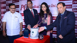 MUMBAI, (GNI): From Left to Right - Prakash Mehta (Housing Department Minister), Ramana Tadepalli (Board Director - POC Medical Systems), Smt Amruta Fadnavis, Sanjeev Saxena (Chairman & CEO - POC Medical Systems, USA) unveiling,  'MammoAlert' - A disruptive pre-screening test for early 'Breast Cancer Detection' by POC Medical Systems Inc. at Hotel Trident, in Mumbai - Photo by GNI
