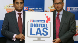 MUMBAI, (GNI): Arvind Kapil (right), Country Head - Unsecure Loans, Home, and Mortgage Loans, HDFC Bank with G.V. Nageswara Rao (left), Managing Director & CEO, National Securities Depository Ltd. (NSDL) at the launch of Digital LAS in Mumbai - Photo by GNI