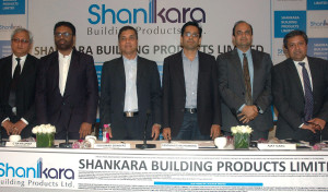 MUMBAI, (GNI): Venkatraghavan/ IDPC, C Ravi Kumar/ ED, Sukumar Srinivas, MD, Siddharth Mundra , Director of Shankara Building Product Ltd, Ajay Garg Equirus Capital, Rakesh singh/HDFC, during announcement OF the Company IPO in Mumbai on Wednesday - photo by Ssumant Gajinkar