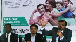 MUMBAI, (GNI): L-R: Karthikraj Lakshmanan, Senior Equities fund Manager, Sharad Sharma, CEO, BNP Paribas Mutual Fund, Anand Shah, Dy. CEO & CIO, BNP Paribas Mutual Fund, announced the launch of BNP Paribas Balanced Fund, in Mumbai on Thurday - Photo by Sumant Gajinkar