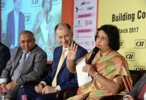 MUMBAI, (GNI): SBI Chairman Arundhati Bhattacharya Addressing at CII Conference on Building Competitiveness: Driving Development; India in the Next Decade: The Agenda for Development, with Dr Naushad Forbes, President, CII & Co – Chairman, Forbes Marshall Chandrajit Banerjee, Director General, CII in Mumbai - photo by Sumant Gajinkar