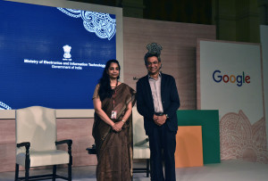 NEW DELHI, (GNI): L -R: Aruna Sundarajan, Secretary, Ministry of Electronics and Information Technology and Rajan Anandan, VP, SouthEast Asia and India at a joint press conference in Delhi today - photo by GNI