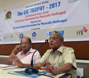 MUMBR: (GNI): L-R: Ajit Wadekar, T P Mirajkar, Secretary during the announcement of The LIC Trophy 2017 for 7th National, Inter-Zonal, T-20 Cricket Tournament for the Physically Challenged Organized by The All India Cricket Association for Physically Challenged, at Press Club, in Mumbai - photo by Sumant Gajinkar