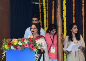 MUMBAI, (GNI): Actress Tanuja addressing at the Maharashtra Yoga Utsav 2017, in Mumbai - Photo by GNI