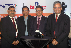 MUMBAI, (GNI): (from left) A P Hota, MD and CEO of NPCI, V Subramaniam, Director of Reliance Retail, Rajeev Agrawal, MD and CEO of Innoviti payment solutions and Rajiv Anand, ED of Axis Bank during NPCI and Reliance launch India's first in store UPI payments facility in Mumbai on Thursday. Photo by Sumant Gajinkar