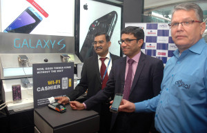 MUMBAI, (GNI): from left: A P Hota, MD and CEO of NPCI, Rajeev Agrawal, MD and CEO of Innoviti payment solutions and Brian Bade, CEO of Reliance Digital during NPCI and Reliance launch India's first in store UPI payments facility in Mumbai on Thursday. Photo by Sumant Gajinkar