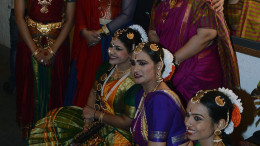 Sandip Soparrkar and Sharbani Mukherji poses and Uma Rele with dancers at India Dance Week