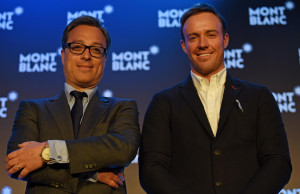 MUMBAI, (GNI): Nicholas Baretzki, CEO Montblanc International with AB de Villiers, Brand Ambassador Montblanc India & South Africa, during UNICEF Collection launched in India, in Mumbai - Photo by GNI