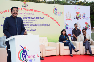MUMBAI, (GNI): The Governor of Maharashtra CH Vidyasagar Rao addressing at the inauguration of the Under – 19 Football Talent Hunt Tournament by kicking off the football at the Cooperate Football Ground in Mumbai - photo by Sumant Gajinkar