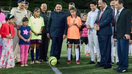 MUMBAI, (GNI): The Governor of Maharashtra & Tamil Nadu CH Vidyasagar Rao inaugurated the Under – 19 Football Talent Hunt Tournament by kicking off the football at the Cooperate Football Ground in Mumbai - Photo by Sumant Gajinkar