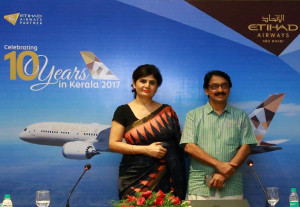 THIRUVANANTHAPURAM (KERALA), INDIA (GNI):  Neerja Bhatia, Etihad Airways Vice President Indian Subcontinent, pictured left, with Dr Venu Vasudevan, Principal Secretary Kerala Tourism, at a Press Briefing in Thiruvananthapuram today to mark the airline's 10th anniversary of flying to Kerala - PHOTO BY GNI