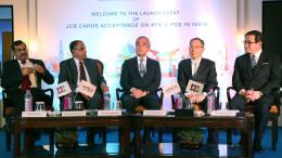 NEW DELHI,  (GNI) L to R:  A. P. Hota, MD & CEO, NPCI, MrBalachandran M., Chairman, NPCI, H. E.  Kenji Hiramatsu, Ambassador Extraordinary and Plenipotentiary of Japan to India, Ichiro Hamakawa, President and CEO, JCB Co. Ltd and Chairman & CEO, JCB International Co. Ltd, Kimihisa Imada, President and COO, JCB International Co. Ltd. Today NPCI announced acceptance of JCB cards across ATMs & PoS terminals in India, in New Delhi - photo by GNI