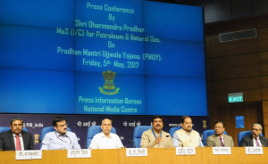 The Minister of State for Petroleum and Natural Gas (Independent Charge), Shri Dharmendra Pradhan addressing a press conference on the Pradhan Mantri Ujjwala Yojana (PMUY), in New Delhi on May 05, 2017. The Secretary, Ministry of Petroleum and Natural Gas, Shri K.D. Tripathi, the Principal Director General (M&C), Press Information Bureau, Shri A.P. Frank Noronha and other dignitaries are also seen.