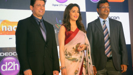 MUMBAI, (GNI): Madhuri Dixit with Dr. Shriram Nene and Sugato Banerji - Head Marketing, Videocon d2h at the launch of Videocon d2h's new value added service, d2h Nachle, in Mumbai on Wednesday - photo by Sumant Gajinkar