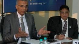 Mumbai : Nilesh Vikamsey, President of The Institute of Chartered Accountants of India (L) with Shiwaji Zaware, Chairman of ICAI during 13th Emerging Economies Group meeting in Mumbai on Tuesday. Photo Girish Srivastav/ 09.05.2017