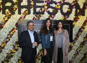 MUMBAI, (GNI): Govind Shrikhande- Customer Care Associate & Managing Director, Shoppers Stop Ltd along with Rhea & Sonam Kapoor at the launch of Rheson at Shoppers Stop in Mumbai - photo by GNI
