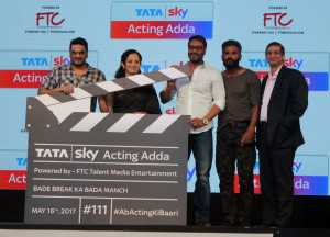 MUMBAI, (GNI): Mukesh Chhabra, Pallavi Puri, Chief Commercial Officer, Tata Sky, actors Ajay Devgn and Suniel Shetty at the launch of Tata Sky Acting Adda, as Tata Sky, at the launch of their next pionneering initative in Mumbai today - photo by Sumant Gajinkar