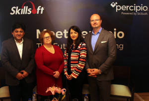 MUMBAI, (GNI): From L to R: Apratim Purakayastha, Chief Technology Officer, Skillsoft; Ms. Tara O'Sullivan, Chief Creative Officer, Skillsoft; Ms. Potoula Chresomales, ‎Senior Vice President of Product Management Skillsoft and Chad Gaydos, Chief Revenue Officer, Skillsoft at the launch of Percipio by Skillsoft during the press conference, in Mumbai - photo by Sumant Gajinkar