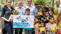 NEW DELHI, (GNI): Ms. Melanie Heiniger, External Affairs Swiss International Air Lines, Wolfgang Will, Director South Asia Lufthansa Group, Christoph Ulrich, Head of Human Resources Swiss International Air lines with Bawana in Delhi - Photo by GNI