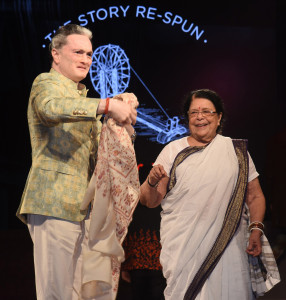 MUMBAI, (GNI): Gautam Hari Singhania, Chairman & Managing Director – Raymond Limited, Ms. Sumitra Kulkarni Gandhi, granddaughter of Mahatma Gandhi, during the launch of India's first branded Khadi label - 'Khadi by Raymond' at a grand event in Mumbai yesterday night - photo by GNI   The models at the fashion show displayed the plethoric collection made from Raymond Khadi which included international wear, casual attire, smart formals  and ethnic wear to suit every occasion.