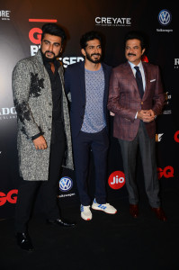 MUMBAI, (GNI): GQ Best Dressed 2017 Winners Arjun Kapoor along with Anil and Harshvardhan Kapoor, at a event in Mumbai - Photo by GNI