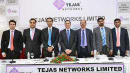 MUMBAI, (GNI): L TO R:  Chirag Negandhi - Axis Capital Limited , Ravi Kapoor - Citigroup Global Markets India Private Limited, Arnob Roy -President – Optical Products-Tejas Networks Limited, Sanjay Nayak - MD & CEO - Tejas Networks Limited ,  Venkatesh Gadiyar - Chief Financial Officer - Tejas Networks Limited , Jibi Jacob - Edelweiss Financial Services Limited , Mangesh Ghogre- Nomura Financial Advisory And Securities (India) Private Limited, during the press conference to announce the IPO in Mumbai on Wednesday - Photo by Sumant Gajinkar