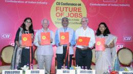 MUMBAI, (GNI): L-R: Dr Rajiv Lall, Founder MD & CEO, IDFC Bank, Jamshyd N Godrej, Past President, CII and Chairman & MD, Godrej & Boyce Mfg Co Ltd, Arun Maira, Former Member, Planning Commission of India, Ms Sandhya Satwadi, Senior Director CII, Ms Aparna Bijapurkar, Boston Consulting Group  CII Report on 'Future of Jobs in India – Enterprises and Livelihoods' Released at CII Conference on 'Future of Jobs': Future of Jobs in India : Enterprises and Livelihoods in financial Capital of India in Mumbai - Photo by Sumant Gajinkar