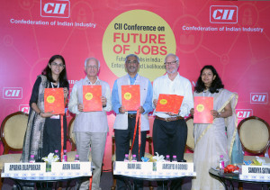 MUMBAI, (GNI): L-R: Dr Rajiv Lall, Founder MD & CEO, IDFC Bank, Jamshyd N Godrej, Past President, CII and Chairman & MD, Godrej & Boyce Mfg Co Ltd, Arun Maira, Former Member, Planning Commission of India, Ms Sandhya Satwadi, Senior Director CII, Ms Aparna Bijapurkar, Boston Consulting Group  CII Report on 'Future of Jobs in India – Enterprises and Livelihoods' Released at CII Conference on 'Future of Jobs': Future of Jobs in India : Enterprises and Livelihoods in financial Capital of India in Mumbai - Photo by Sumant Gajinkar