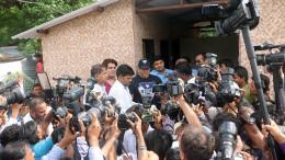 MUMBAI, (GNI): Rahul Kanal - Chairman, I Love Mumbai, Salman Khan and Ajoy H Mehta BMC Commissioner being besieged by the media at  handing over of the Public UtilityToilet at Madraspada, Aarey Milk Colony in Mumbai - Photo by GNI