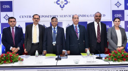MUMBAI, (GNI): L-R: Utpal Oza (Nomura Financial Advisory And Securities (India) Private Limited), Salil Pitale (Axis Capital Limited), P S Reddy [Managing Director and Chief Executive Officer, Central Depository Services (India) Limited], Bharat Sheth [Chief Financial Officer, Central Depository Services (India) Limited], Narayanan Sadanandan (SBI Capital Markets Limited) and Dipti Samant (Edelweiss Financial Services Limited) at the CDSL IPO press conference in Mumbai - Photo by Sumant Gajinkar
