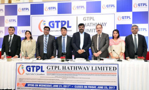 MUMBAI, (GNI): L-R: Girish Nadkarni(Motilal Oswal Investment Advisors Pvt.Ltd), Amishi Kapadia (Yes Securities(India) Ltd, Piyush Pankaj(Head Investor Relations, GTPL Hathway Ltd), Rajan Gupta(Chairman & Director,GTPL Hathway Ltd), Aniruddhasinhji Jadeja ( Managing Director, GTPL Hathway Ltd), Shaji Mathews(Chief Operating Officer, GTPL Hathway Ltd), Neha Agarwal(JM Financial Institutional Securities Ltd) and Ganeshan Murugaiyan(BNP Paribas) during the IPO conference in Mumbai - Photo by Sumant Gajinkar