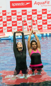 MUMBAI, (GNI): Yami Gautam and Pooja Arora at the Speedo AquaFit Training session by Pooja Arora, in Mumbai - photo by GNI