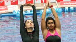 MUMBAI, (GNI): Yami Gautam and Pooja Arora at the Speedo AquaFit Training session by Pooja Arora, in Mumbai - photo by GNI