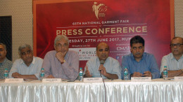 """MUMBAI, (GNI): The Clothing Manufacturers Association of India (CMAI) organized a """"Press Conference""""for a briefing on the anticipated impact of GST on the Developments &Growth of the Indian Garment Industry & to appraise on India's Largest Apparel Trade Show – """"65th National Garment Fair"""", to be held in Mumbai from 10th July to 12th July 2017 at Bombay Exhibition Centre, NSE Complex, Goregaon (E), Mumbai 400 063. During the CMAI Press Conference held on 27th June 2017 at Mumbai, seen from left to right, Mr. Rohit Munjal, Jt. Chairman, -Fair Sub Committee, Mr. Ashok Shah, Chairman – Fair Sub Committee, Mr. Rahul Mehta, President, Mr. Premal Udani, Chairman –Board of Trustees, Mr. Rajesh Masand, Vice President and Mr. Jayesh Shah, Jt. Hon. Secretary.- Photo BY Sumant Gajinkar"""